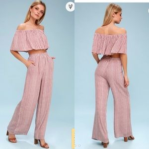 Lulus Striped Off-the-Shoulder Two-Piece Jumpsuit